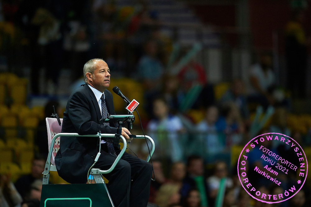 Chair Umpire Alexander Juge of France during Davis Cup Tie World Group Play-off Poland v Slovakia at Gdynia Arena Hall in Gdynia, Poland.<br /> <br /> Poland, Gdynia, September 20, 2015<br /> <br /> Picture also available in RAW (NEF) or TIFF format on special request.<br /> <br /> For editorial use only. Any commercial or promotional use requires permission.<br /> <br /> Adam Nurkiewicz declares that he has no rights to the image of people at the photographs of his authorship.<br /> <br /> Mandatory credit:<br /> Photo by &copy; Adam Nurkiewicz / Mediasport