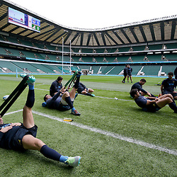 Argentina players stretch after the Argentina Captains Run at Twickenham Stadium, Twickenham - 07/10/2016<br />
