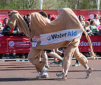 Runners pass Buckingham Palace and the Victoria Memorial as they approach the finish of the Virgin Money London Marathon 2014<br /> on Sunday 13 April 2014<br /> Photo: Dave Shopland/Virgin Money London Marathon<br /> media@london-marathon.co.uk