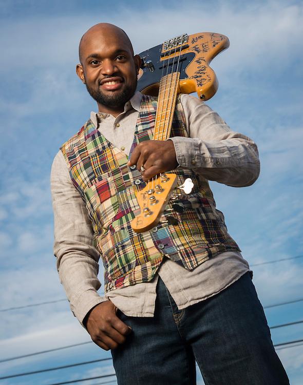 Kashmere High School graduate and musician Joshua Dunham poses for a photograph, January 28, 2015.