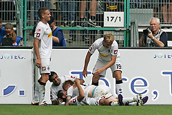 10.09.2011,  BorussiaPark, Mönchengladbach, GER, 1.FBL, Borussia Mönchengladbach vs 1. FC Kaiserslautern, im Bild.Torjubel / Jubel  nach dem 1:0 durch Juan Arango (Mönchengladbach #18) (L)..// during the 1.FBL, Borussia Mönchengladbach vs 1. FC Kaiserslautern on 2011/09/09, BorussiaPark, Mönchengladbach, Germany. EXPA Pictures © 2011, PhotoCredit: EXPA/ nph/  Mueller *** Local Caption ***       ****** out of GER / CRO  / BEL ******