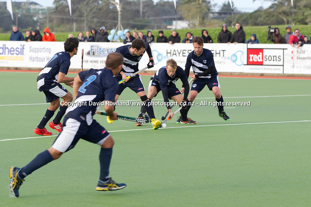 Auckland`s Dean Couzins halts the ball in a penalty corner in the Auckland v Midlands Men`s Final match, Ford National Hockey League, North Harbour Hockey Stadium, Auckland, New Zealand,Sunday, September 14, 2014. Photo: David Rowland/Photosport