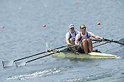 Lucerne. Switzerland.  GBR  W2X. Bow. Frances HOUGHTON and Victoria MEYER-LAKER, move away from the start pontoon in their heat of the women's double Sculls, FISA WC III. 13:36:20  Friday  12/07/2013  [Mandatory Credit, Peter Spurrier/ Intersport Images] Lake Rotsee,