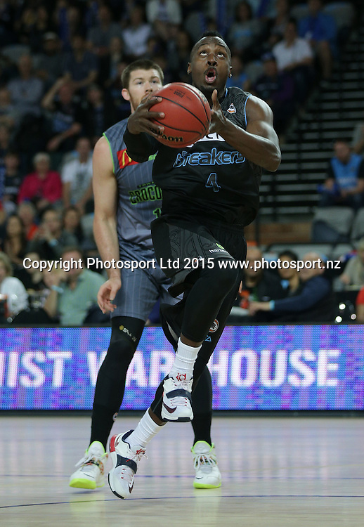 Breakers` Cedric Jackson aims for a basket in an ANBL Basketball Match, New Zealand Breakers v Townsville Crocodiles, Vector Arena, Auckland, New Zealand, Sunday, October 11, 2015. Copyright photo: David Rowland / www.photosport.nz