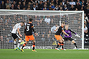 Derby County defender Alex Pearce (16) lines up a shot during the EFL Sky Bet Championship match between Derby County and Sheffield Wednesday at the iPro Stadium, Derby, England on 29 October 2016. Photo by Jon Hobley.