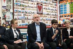 © Licensed to London News Pictures . 22/03/2018. Manchester, UK. JEREMY CORBYN visits a class at Stretford High School with local MP KATE GREEN (r) , in Trafford , after launching of the Labour Party's local election campaign . Photo credit: Joel Goodman/LNP
