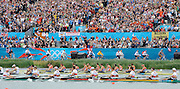 Eton Dorney, Windsor, Great Britain,..2012 London Olympic Regatta, Dorney Lake. Eton Rowing Centre, Berkshire[ Rowing]...Description;  Men's Eights Final..GER.M8+. Filip ADAMSKI (b) , Andreas KUFFNER (2) , Eric JOHANNESEN (3) , Maximilian REINELT (4) , Richard SCHMIDT (5) , Lukas MUELLER (6) , Florian MENNIGEN (7) , Kristof WILKE (s) , Martin SAUER (c).CAN.M8+.  Gabriel BERGEN (b) , Douglas CSIMA (2) , Rob GIBSON (3) , Conlin MCCABE (4) , Malcolm HOWARD (5) , Andrew BYRNES (6) , Jeremiah BROWN (7) , Will CROTHERS (s) , Brian PRICE (c).GBR.M8+ Alex PARTRIDGE (b) , James FOAD (2) , Tom RANSLEY (3) , Richard EGINGTON (4) , Mohamed SBIHI (5) , Greg SEARLE (6) , Matt LANGRIDGE (7) , Constantine LOULOUDIS (s) , Phelan HILL (c).USA.M8+ David BANKS (b) , Grant JAMES (2) , Ross JAMES (3) , William MILLER (4) , Giuseppe LANZONE (5) , Stephen KASPRZYK (6) , Jacob CORNELIUS (7) , Brett NEWLIN (s) , Zachary VLAHOS (c).NED.M8+. Sjoerd HAMBURGER (b) , Diederik SIMON (2) , Rogier BLINK (3) , Matthijs VELLENGA (4) , Roel BRAAS (5) , Jozef KLAASSEN (6) , Olivier SIEGELAAR (7) , Mitchel STEENMAN (s) , Peter WIERSUM (c).AUS.M8+. Matthew RYAN (b) , Francis HEGERTY (2) , Cameron MCKENZIE MCHARG (3) , Bryn COUDRAYE (4) , Thomas SWANN (5) , Joshua BOOTH (6) , Samuel LOCH (7) , Nicholas PURNELL (s) , Tobias LISTER (c)  Dorney Lake. 12:35:54  Wednesday  01/08/2012.  [Mandatory Credit: Peter Spurrier/Intersport Images].Dorney Lake, Eton, Great Britain...Venue, Rowing, 2012 London Olympic Regatta...