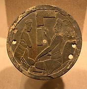 Mirror Back, Guatemala; Maya 8th-9th century, slate.