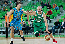 Marko Simonovic of KK Cedevita Olimpija and Marko Lukovic  of KK Sixt Primorska during basketball match between KK Cedevita Olimpija and KK Sixt Primorska in Round #17 of ABA League 2019/20, on January 26, 2020 in Arena Stozice, Ljubljana, Slovenia. Photo By Grega Valancic / Sportida