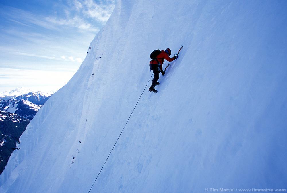 Kristie Arend climbing Spindrift Couloir, Big Four Mountain, North Cascades.