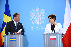 June 20, 2017 - Warsaw, Poland - Prime Minister Beata Szydlo leads press briefing with Swedish Prime Minister Stefan Löfven during his official state visit. (Credit Image: © Jakob Ratz/Pacific Press via ZUMA Wire)