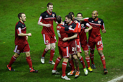 Bristol City Midfielder Paul Anderson (ENG) celebrates with teammates after scoring a goal to give his side a 2-0 lead during the second half of the match - Photo mandatory by-line: Rogan Thomson/JMP - Tel: Mobile: 07966 386802 29/01/2013 - SPORT - FOOTBALL - Ashton Gate - Bristol. Bristol City v Watford - npower Championship.