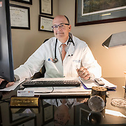Dr. Hardy in his medical office, Novant Health, Culpeper, Virginia. For Novant Health.