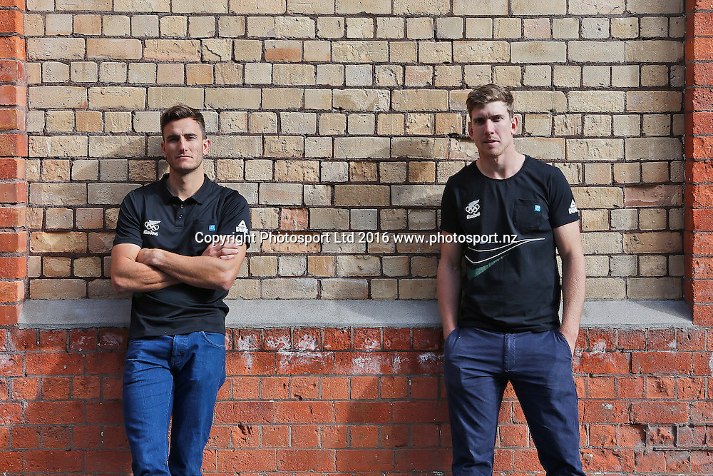 Peter Burling (R) and Blair Tuke, 49er sailors, New Zealand Yachting team pre-departure media session ahead of the Rio 2016 Olympic Games. Zhik shop, Victoria Park Markets, Auckland, 26 July 2016. Copyright Image: William Booth / www.photosport.nz
