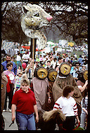 Papier mache jungle cat & kazoo-tooting leeches grace Earth Day parade in Forest Park, St. Louis Missouri