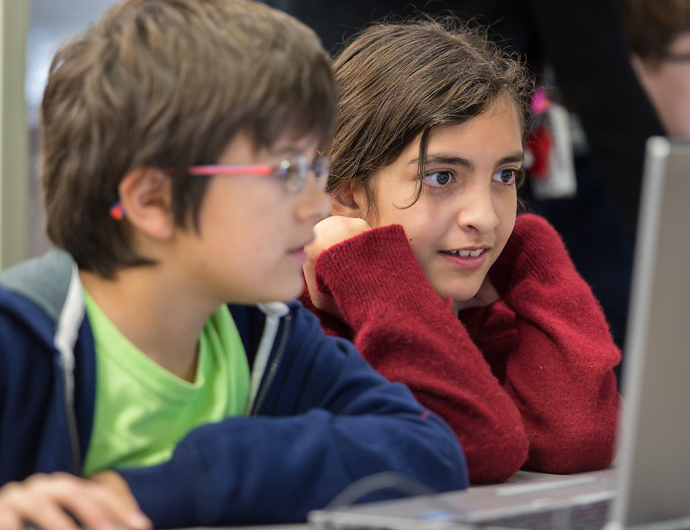 Students work a coding exercise during an Hour of Code at Kolter Elementary School, December 10, 2014.