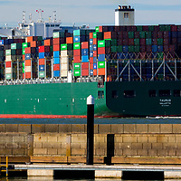 Container Ship, The Solent, Cowes, Isle of Wight, England, UK,