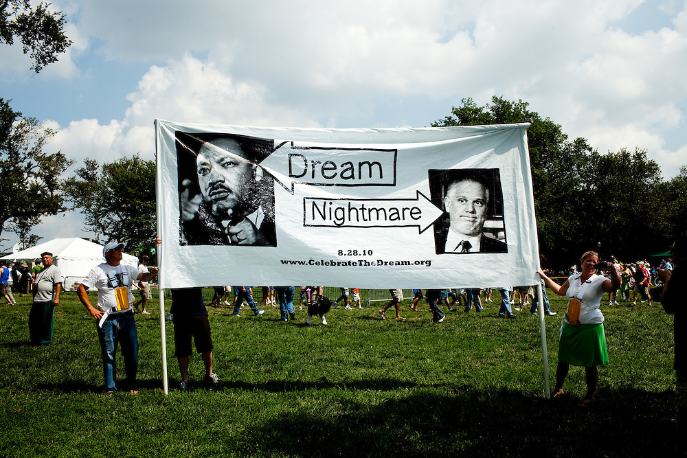 Members of Organize the Dream protest during the 'Restoring Honor' event at the Lincoln Memorial on August 28, 2010 in Washington, DC.