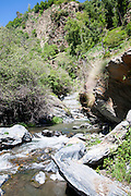 Rapids in the channel of the River Rio Poqueira gorge valley, High Alpujarras, Sierra Nevada, Granada Province, Spain