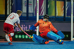 Germany's Nicolas Jacobi saves from Sam Ward of England. England v Germany - Semi-Final Unibet EuroHockey Championships, Lee Valley Hockey & Tennis Centre, London, UK on 27 August 2015. Photo: Simon Parker