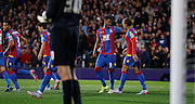 Goalscorers Dwight gayle and Fraiser Campbell celebrate Palace's second during the Capital One Cup match between Crystal Palace and Charlton Athletic at Selhurst Park, London, England on 23 September 2015. Photo by Michael Hulf.