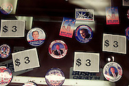 Bush campaaign buttons and other memorablia on sale at the Madison Square Garden..RNC, Madison Square Garden, NYC, NY USA.9/1/04.