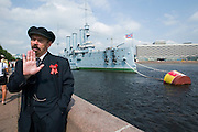 Panzerkreuzer Aurora, the ship that opened the 1917 Communist revolution by shelling the Winter Palace. Lenin lookalike posing for tourists (2 Euros each picture)...A river cruise from Moscow to St. Petersburg aboard MS Kazan, the most luxurious vessel (four star plus) operating in Russia. It is run by Austrian River Cruises under strictly Western standards, chartered - amongst others - by Club 50, a senior's travel agency based in Vienna.
