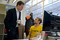 Tom White, developer at  Skin Analytics  and Rt Hon Nick Clegg, MP, Deputy Prime Minister Nick Clegg officially launched Wayra UnLtd the new Academy in London that supports social enterprise businesses  <br /> <br /> DESCRIPTION WRITER:<br /> <br /> Sasha Mattus on 07515 754 550