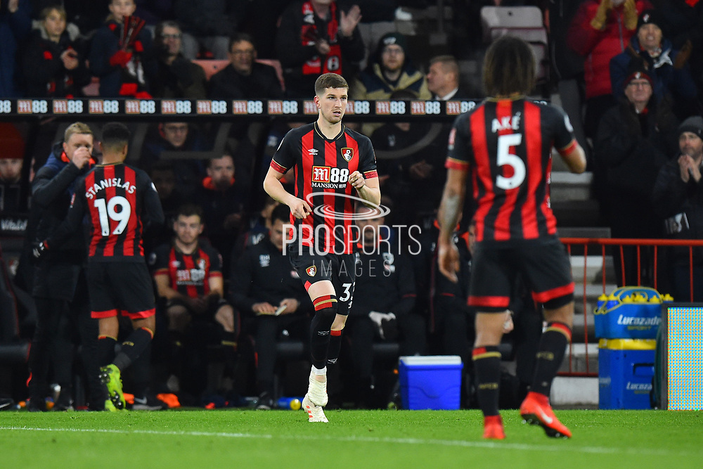 Chris Mepham (33) of AFC Bournemouth makes his debut as he comes on for Junior Stanislas (19) of AFC Bournemouth during the Premier League match between Bournemouth and Chelsea at the Vitality Stadium, Bournemouth, England on 30 January 2019.