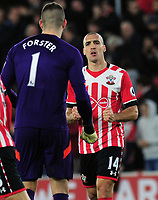 Football - 2016 / 2017 League [EFL] Cup - Semi-Final: Southampton vs. Liverpool<br /> <br /> Fraser Forster and Oriol Romeu of Southampton congratulate each other after the match at St Mary's Stadium.<br /> <br /> COLORSPORT/ANDREW COWIE