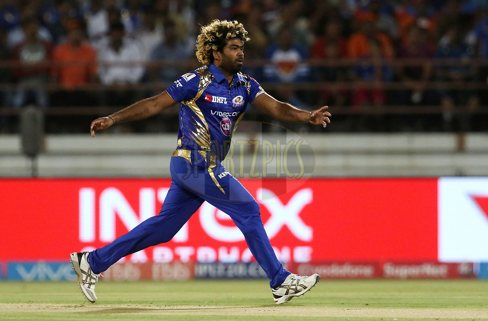 Lasith Malinga of the Mumbai Indians during match 35 of the Vivo 2017 Indian Premier League between the Gujarat Lions and the Mumbai Indians  held at the Saurashtra Cricket Association Stadium in Rajkot, India on the 29th April 2017<br /> <br /> Photo by Vipin Pawar - Sportzpics - IPL