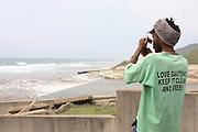 Mduduzi Tshabala from Johannesburg before the beach clean up organized by the Southern Durban Community Environmental Alliance (SCDEA)/KZN, 1 December 2011