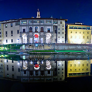Uffizi Gallery reflected on the River Arno, Florence (Firenze), Italy. High resolution panorama.