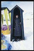 Mike Fitzroy, Dangerous Sports Club Ski race. St Moritz. 1986 approx. © Copyright Photograph by Dafydd Jones 66 Stockwell Park Rd. London SW9 0DA Tel 020 7733 0108 www.dafjones.com
