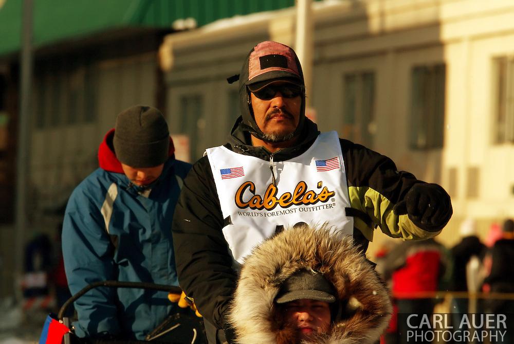 3/3/2007:  Anchorage Alaska -  Veteran Mike Williams of Akiak, AK during the Ceremonial Start of the 35th Iditarod Sled Dog Race