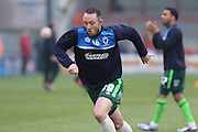 Rhys Murphy of AFC Wimbledon is on loan from Oldham Athletic makes his during the Sky Bet League 2 match between Morecambe and AFC Wimbledon at the Globe Arena, Morecambe, England on 12 March 2016. Photo by Stuart Butcher.