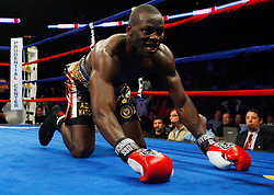 Dec 11, 2008; Newark, NJ, USA; Steve Cunningham gets knocked down during his 12 round bout against Tomasz Adamek at the Prudential Center. Adamek captured the belt via 12 round split decision.