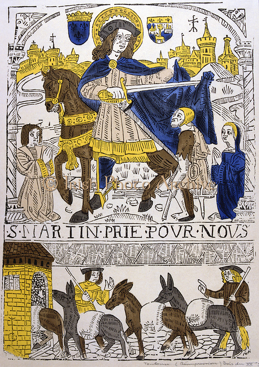 St Martin Bishop of Tours (c.316-c.400) Founded first monastery in France at Liguge near Poitiers c.360. Giving military cloak to a beggar. French 19th century coloured woodcut .