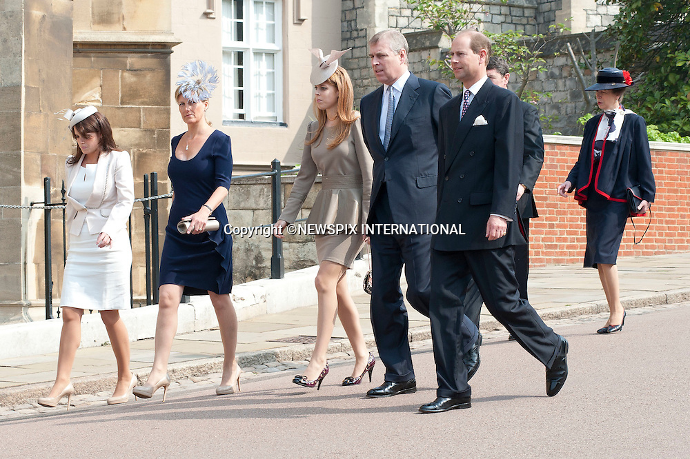 """THE ROYAL FAMILY ATTEND EASTER SERVICE.The Queen, Prince Phillip, Princess Anne, Prince Andrew, Prince Edward, Princess Beatrice, Princess Eugenie, Sophie Countess of Wessex and Tim Lawrence attended the Easter Service at St Georges Chapel, Windsor Castle_24/04/2011.Mandatory Photo Credit: ©Dias/Newspix International..**ALL FEES PAYABLE TO: """"NEWSPIX INTERNATIONAL""""**..PHOTO CREDIT MANDATORY!!: NEWSPIX INTERNATIONAL(Failure to credit will incur a surcharge of 100% of reproduction fees)..IMMEDIATE CONFIRMATION OF USAGE REQUIRED:.Newspix International, 31 Chinnery Hill, Bishop's Stortford, ENGLAND CM23 3PS.Tel:+441279 324672  ; Fax: +441279656877.Mobile:  0777568 1153.e-mail: info@newspixinternational.co.uk"""