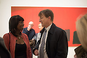 BEVERLEY HEATH; JEREMY HOYLAND, Opening of an exhibition of works by Anthony Caro, John Hoyland and Kenneth Noland. Pace, Burlington Gardens. London. 18 November 2015