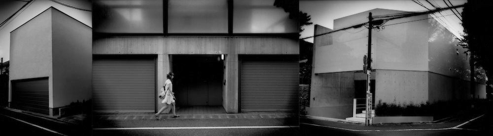 Privacy, Isolation / Triptych: Shutting out, shutting in.  Univiting facaded in Tokyo suburb of Seijo, Tokyo, Japan.  Despite being homes of wealthier families, these houses share the fortress wall mentality that is an outward expression of the forbidden nature of private lives.