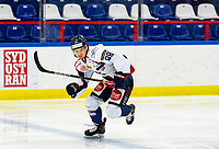 2020-01-22   Kallinge, Sweden: Halmstad Hammers (88) Oscar Jacobsson during the game between Krif hockey and Halmstad Hammers at Soft Center Arena (Photo by: Jonathan Persson   Swe Press Photo)<br /> <br /> Keywords: kallinge, Ishockey, Icehockey, hockeyettan, allettan södra, soft center arena, krif hockey, halmstad hammers (Match code: krhh200122)
