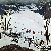 World War I, Eastern Front: Battle of the Carpathian Passes, March-April 1915. Serbian Fusiliers attacking defensive position of the 21st Landsturm Infantry Regiment (Austro-Hungarian). Alfred Basel (1876-1920) Austrian artist