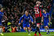 Goal!…Chelsea forward Eden Hazard (10) scores the first goal and celebrates during the quarter final of the EFL Cup match between Chelsea and Bournemouth at Stamford Bridge, London, England on 19 December 2018.