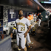 NEW YORK, NEW YORK - June 16: Andrew McCutchen #22 of the Pittsburgh Pirates in the dugout preparing to bat during the Pittsburgh Pirates Vs New York Mets regular season MLB game at Citi Field on June 16, 2016 in New York City. (Photo by Tim Clayton/Corbis via Getty Images)