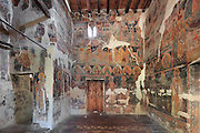 Frescoes of prophets and bible scenes, 1578, by Nikolla Onufri, son of Onufri, in the 13th century Church of St Mary of Blachernae or Kisha e Shen Meri Vllahernes inside Berat Castle or Kalaja e Beratit, in Berat, South-Central Albania, capital of the District of Berat and the County of Berat. Picture by Manuel Cohen