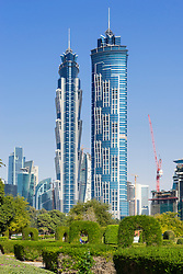 JW Marriott Marquis hotel  viewed from Al Safa Park in Dubai United Arab Emirates