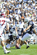 Sept 19, 2009; State College, PA, USA; Jeremy Boone (41) and Collin Wagner (36) kick off during the first half against  Temple at Beaver Stadium.  Mandatory Credit: Jason Miller-US PRESSWIRE