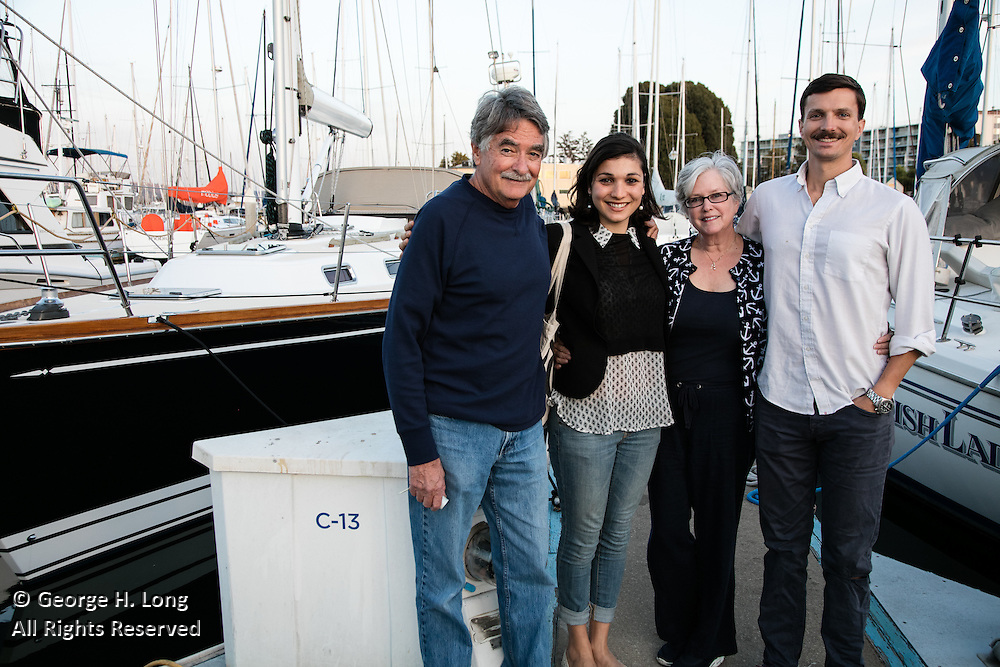 Stephen Blitch, Emmal Chammah, Courtney Blitch, and Trey Dye at Stephen's sailboat, Prime Number, docked in Oakland, California