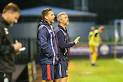 Russell Milton, Assistant manager of Cheltenham Town and Youth team manager Ashleigh Hopkins during the Gloucestershire Senior Cup match between Forest Green Rovers and Cheltenham Town at the New Lawn, Forest Green, United Kingdom on 20 September 2016. Photo by Shane Healey.